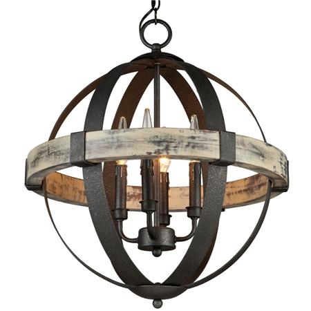 Industrial Rustic Wrought Iron Orb Chandelier Light – Rustic Wrought Iron Chandelier