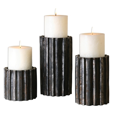 Metal log candleholders