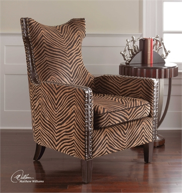 Black and Gold Zebra Print Lounge Chair