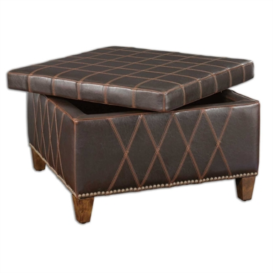 Brown Faux Leather Storage Ottoman Reflections Of You