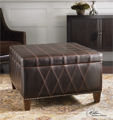 Brown Faux Leather Storage Ottoman