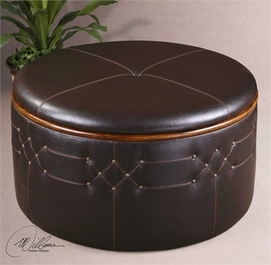 Round Brown Leather Storage Ottoman