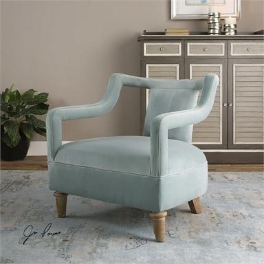 midcentury ocean blue velvet chair