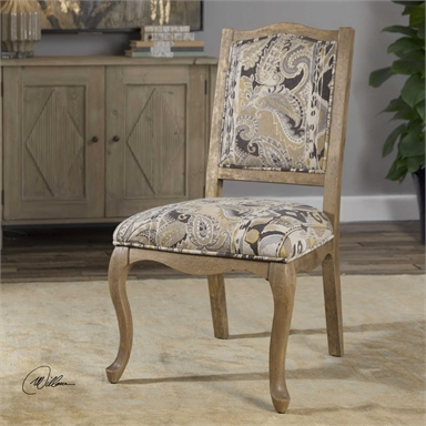 Weathered Gray Accented Paisley Armless Chair