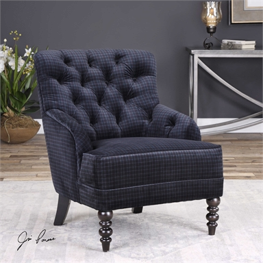Navy Blue Plaid Velvet Lounge Chair Reflections Of You