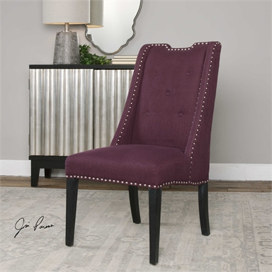 Eggplant Purple Wingback Accent Chair Reflections Of You By Amy